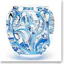 "Lalique Tourbillons 8 1/8"" Blue Crystal Vase, Limited Edition"