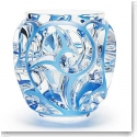 Lalique Crystal, Tourbillons Blue Crystal Vase, Small