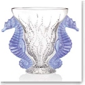 Lalique Crystal, Limited Edition Poseidon Blue Lavender Crystal Vase