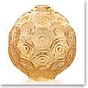 Lalique Crystal, Anemones Bud Crystal Vase, Gold Luster
