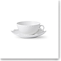 Royal Copenhagen White Fluted Full Lace Tea Cup and Saucer