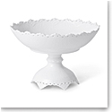 Royal Copenhagen White Fluted Full Lace Footed Compote 11""
