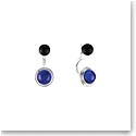 Lalique Crystal Charmante Pierced Earrings, Blue and Noir