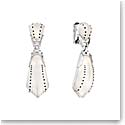 Lalique Crystal Icone Clip Earrings, Silver
