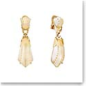 Lalique Crystal Icone Clip Earrings, Gold Vermeil
