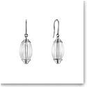 Lalique Crystal Vibrante Oval Pin Clasp Earrings, Silver