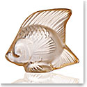 Lalique Crystal, Fish Sculpture, Gold Luster