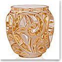 Lalique Tourbillons Small Vase, Gold Luster