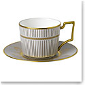 Wedgwood Anthemion Grey Teacup and Saucer Set