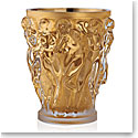 Lalique Crystal, Bacchantes XXL Crystal Vase, Clear With Gold Leaf, Limited Edition of 90
