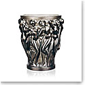 Lalique Crystal, Bacchantes Small Crystal Vase, Bronze