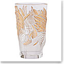 Lalique Crystal, Zodiac Rooster Crystal Vase, Clear And Gold Stamped, Limited Edition Of 888 Pieces