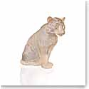 Lalique Sitting Tiger Sculpture, Large, Gold Luster