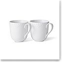 Royal Copenhagen White Fluted Half Lace Mug Pair