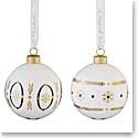 Wedgwood 2021 Renaissance Gold Bauble Ornament Pair