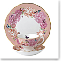 "Royal Albert Miranda Kerr Friendship 3pc Set Teacup, Saucer & Plate 8"" Hope, Coral"