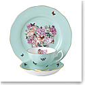 "Royal Albert Miranda Kerr Friendship 3pc Set Teacup, Saucer & Plate 8"" Tranquility, Blue"