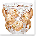 Lalique Crystal, Oran Crystal Vase, Clear And Gold Stamped, Limited Edition of 99