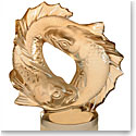 Lalique Double Fish Sculpture, Gold Luster