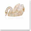Lalique Crystal, Swan Head Down Sculpture, Gold Luster