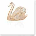 Lalique Crystal, Swan Head Up Sculpture, Gold Luster