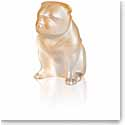 Lalique Bulldog Sculpture, Gold Luster
