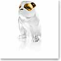 Lalique Crystal, Bulldog Sculpture, Clear and Gold Luster