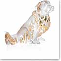 Lalique Crystal, Golden Retriever Sculpture, Clear and Gold Luster