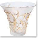 """Lalique Hirondelles 11.5"""" Flared Gold Vase"""