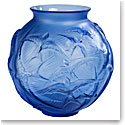 """Lalique Hirondelles 8.5"""" Round Vase, Sapphire Blue"""