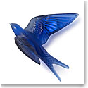Lalique Crystal Hirondelles, Swallows with Wings Up Wall Sculpture, Sapphire Blue