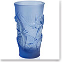 Lalique Hirondelles, Swallows Small Vase, Sapphire Blue