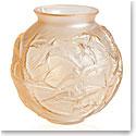 Lalique Hirondelles, Swallows Vase, Gold Luster