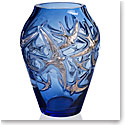 "Lalique Hirondelles, Swallows 15.5"" Vase, Sapphire Blue Platinum Stamped, Limited Edition"