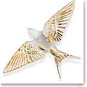 Lalique Hirondelle, Swallow Sculpture, Wings Down, Clear And Gold