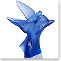 Lalique Two Hirondelles, Swallows Small Sculpture, Sapphire Blue