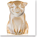 Lalique Cochon, Pig Sculpture, Gold Luster