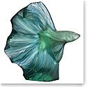 "Lalique Fighting Fish Aquatique 6.3"" Sculpture, Mint Green and Blue Patinated"