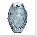 Lalique Poissons Combattants Small Vase, Persepolis Blue