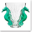 "Lalique Poseidon Clear and Mint Green 14"" Vase, Limited Edition"