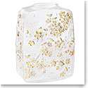 Lalique Fleurs De Cerisiers Clear, Gold Stamped Vase, Numbered Edition