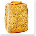 Lalique Fleurs De Cerisiers Amber Gold Stamped Vase, Limited Edition Of 88 Pieces