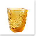 Lalique Small Pivoines Amber Vase