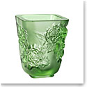 Lalique Small Pivoines Green Vase