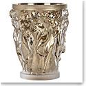 "Lalique Bacchantes Grande 13.5"" Vase, Moon-Gold Leaves, Limited Edition"