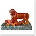 Lalique Lions Sculpture, Amber, Lost Wax Limited Edition