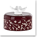 "Lalique Fleurs de Cerisiers Lacquered Pink and Burgundy 5"" Low Wood Box"