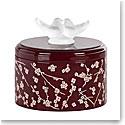 "Lalique Fleurs de Cerisiers Lacquered Pink and Burgundy 5"" Medium Wood Box"