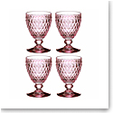 Villeroy and Boch Boston Colored Water Goblet Set of 4 Rose