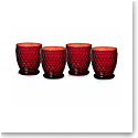 Villeroy and Boch Boston Colored Double Old Fashioned Red Set of 4